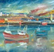 Kate Van Suddese Greeting Card - Boats on the Fishquay - North Shields